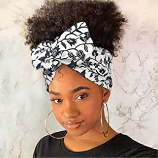 Short Afro Curly Synthetic Headband Wig with Drawstring Natural Looking High Puff Half Wigs with Turban for Black Women(1#)