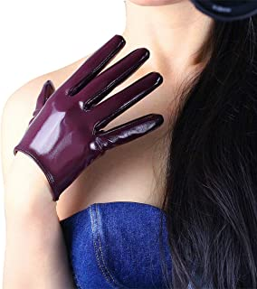 Sexy Ladies Faux Patent Leather Shine Wet Look Satin Gloves for Cosplay Costume Wedding Party Dress Driving