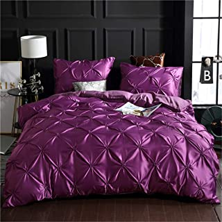 Erosebridal Purple Pinch Pleated Bedding Set Queen Size Silk Like Satin Pintuck Duvet Cover with Zipper Ruffle Design Luxu...