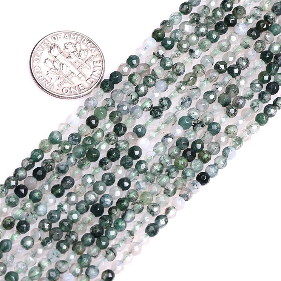 Moss Agate Beads for Jewelry Making Natural Gemstone Semi Precious 3mm Round Faceted 15