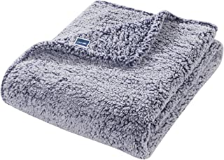 HYSEAS Sherpa Bed Throw, Extra Soft and Fuzzy Plush Brush Fabric, 50x60 Inches, in Blue Color