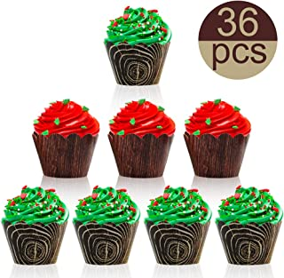 Palksky 36 Pcs Wood-Grain Cupcake Wrappers/Camp-Fire Party Supplies Lumberjack Theme Birthday Decor for Wild One, Woodland Animal Baby Shower cake Decorations Rustic Woodsy Wedding Forest Friend Creatures Liners