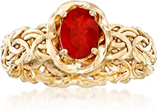 Ross-Simons Fire Opal Byzantine Ring in 14kt Yellow Gold