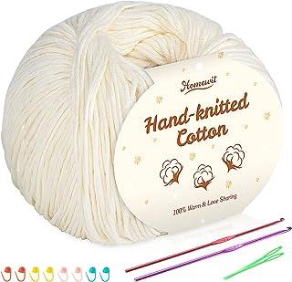 Lot de 6 pelotes de fil de coton beige 100 % coton pour bébé - Laine à crochet et à tricoter - 50 g / balle, avec 2 croche...