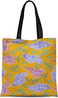 S4Sassy Green Leaves & Lily Floral Print Canvas Shopping Tote Bag Carrying Handbag Casual Shoulder Bag 16x12 Inches