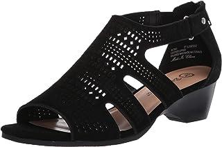 Bella Vita Women's Fashion Casual Heeled Sandal, Black Suede Leather, 6 Narrow