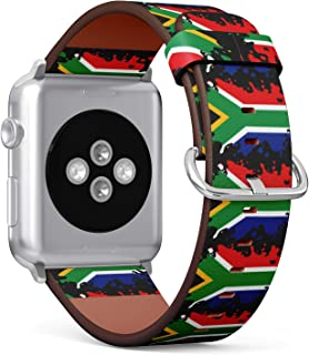 S-Type iWatch Leather Strap Printing Replacement Wristbands Compatible with Apple Watch 4/3/2/1 Sport Series (42mm) - Water Splash Design of Flag of South Africa