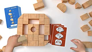 Architot Block Builder - 34 Smooth Wood Blocks with Blueprints Stem Learning for Kids 6 and up