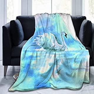 """Fleece Blanket 50"""" x 60""""-Watercolor Drawing of A Swan On The River. Home Flannel Fleece Soft Warm Plush Throw Blanket for Bed/Couch/Sofa/Office/Camping"""