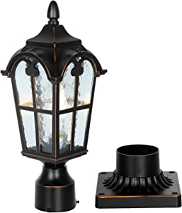 PARTPHONER Black Roman Outdoor Post Light with Pier Mount Base, Waterproof Pole Lantern Light Fixture, Exterior Lamp Post Lantern Head with Clear Glass Panels for Yard, Garden, Patio, Pathway