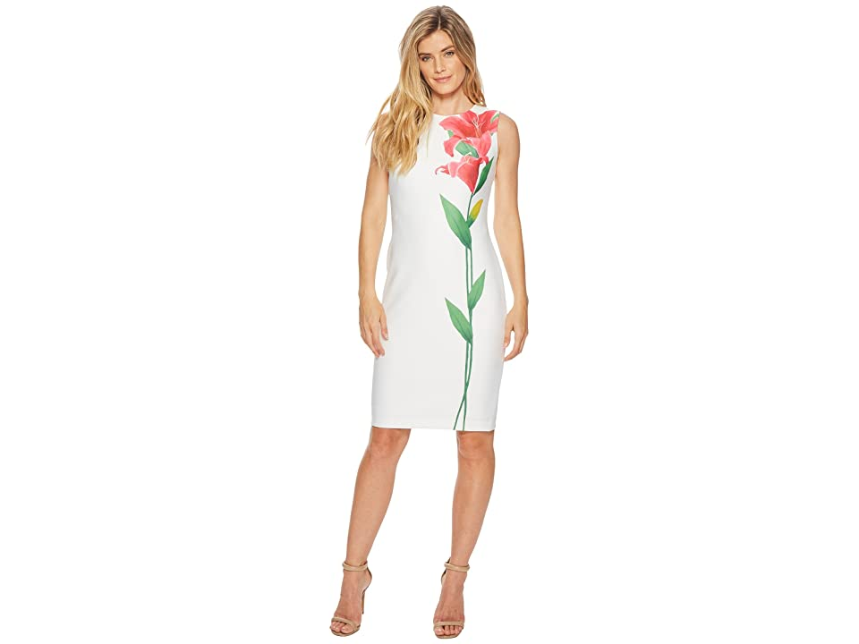 Calvin Klein Flower Scuba Sheath CD8M93DG (White Multi) Women