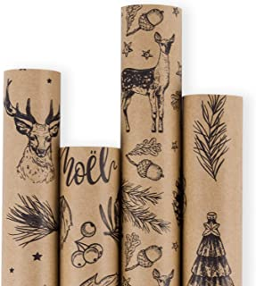 RUSPEPA Christmas Gift Wrapping Paper - Brown Kraft Paper with 3D Black Christmas Elements Xmas Designs Print Paper - 4 Roll - 30Inch x 10Feet Per Roll