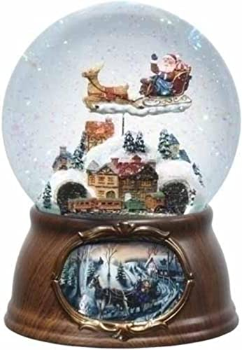"6.5"" Musical Rotating Santa Claus with Train Christmas Snow Globe Glitterdome"