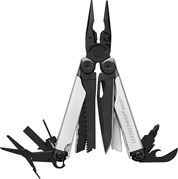 LEATHERMAN Wave Plus Multitool With Premium Replaceable Wire Cutters And Spring Action Scissors Limited Edition Black Silver