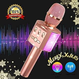 $26 » Wireless Bluetooth Karaoke Microphone, 2019 Update Louder Volume Karaoke Player,Portable Handheld Double Speaker Mic Machine LED Lights Music Playing Singing and Recording- Rose Gold