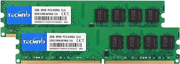 TECMIYO 4GB Kit (2x2GB) DDR2 PC2-5300 PC2 5300U Non ECC Unbuffered 1.8V CL5 2RX8 Dual Rank 240 Pin UDIMM Desktop Memory Ram Module