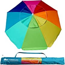 AMMSUN Beach Umbrella, 6.5ft air Vented with Tilt Steel Pole, Portable UV 100+ Protection Beach Umbrella with Carry Bag for Outdoor Patio, Rainbow