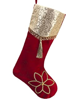 Valery Madelyn 21 inch Luxury Red Gold Christmas Stockings with Christmas Flower and Jacquard Cuff, Themed with Tree Skirt (Not Included)