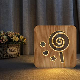 Lollipop Shape LED Night Light Wooden Carving USB lamp Creative Printing Table lamp Wooden Night Light 3D Night Light (War...