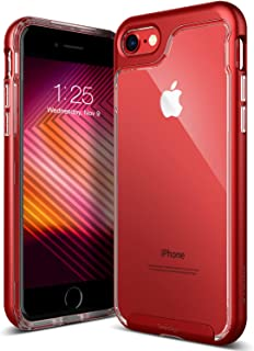Caseology Skyfall for Apple iPhone 8 Case (2017) / for iPhone 7 Case (2016) - Clear Back & Slim Fit - Red