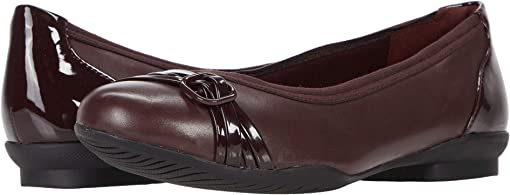 Burgundy Leather/Patent Combination