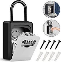 Tobeape Key Lock Box with Hook, Portable Wall Mount Key Storage Box with 4 Digit Resettable Code Combination& Slide Cover ...