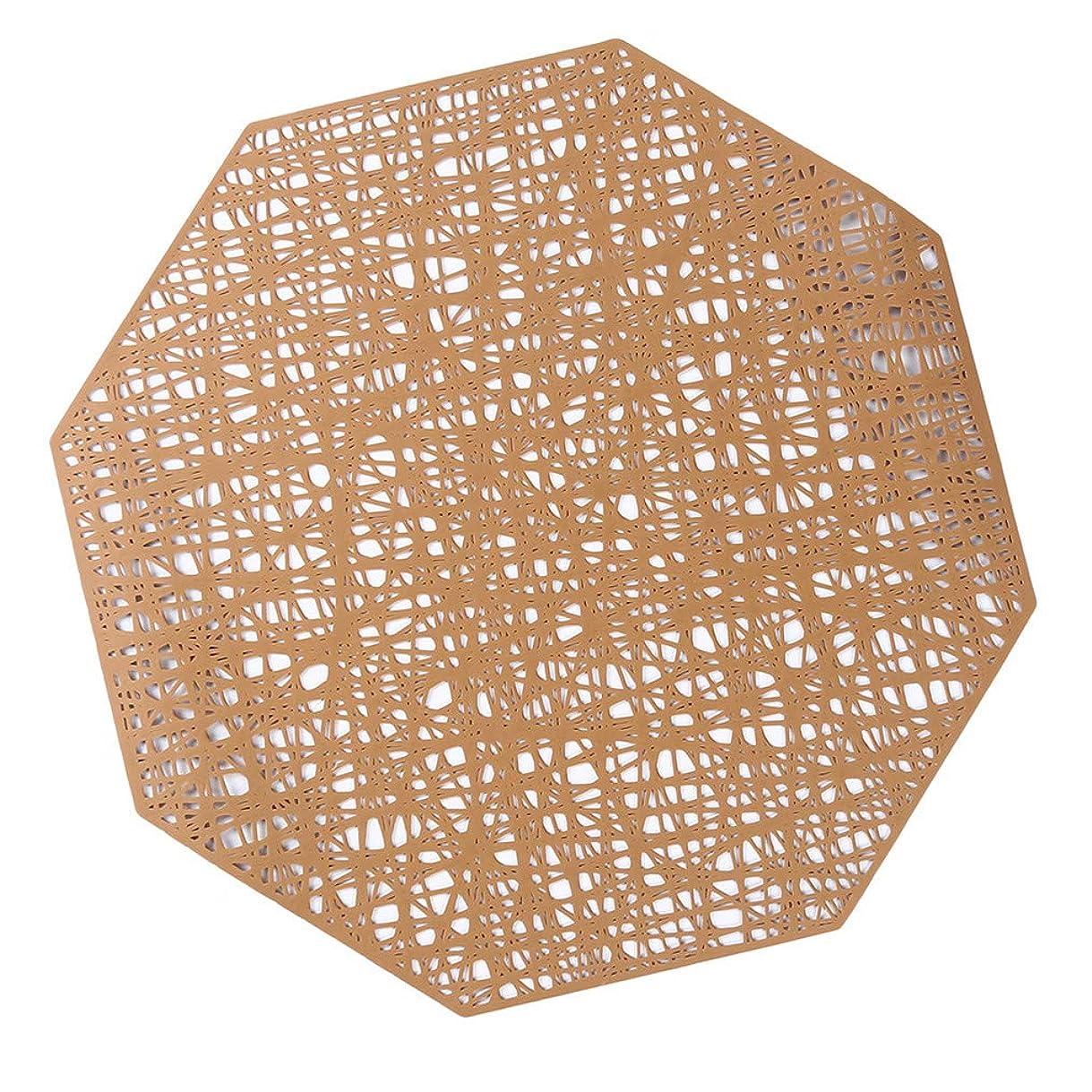マラドロイトより良いワインCngstar ランチョンマット おしゃれ プレースマット 高級感 八角形 PVC材質 北欧風 卓上飾り 防汚 断熱 水洗い 清潔簡単 滑り止め コーヒーマット レストラン用 (ブロンズ)
