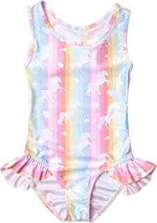 QPANCY Girls Swimsuits Unicorn Bathing Suits Toddler Kids One Piece Swimwear