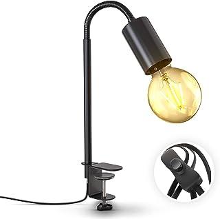 B.K.Licht lámpara de lectura giratoria con interruptor de cable I terminal de tornillo I E27 I Lámpara de pinza de una lla...