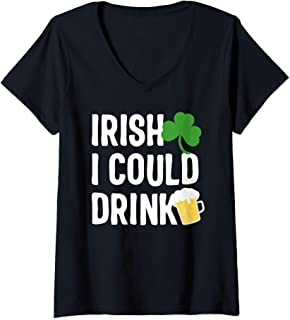 Womens Irish I Could Drink st patricks day Pregnancy announcement V-Neck T-Shirt