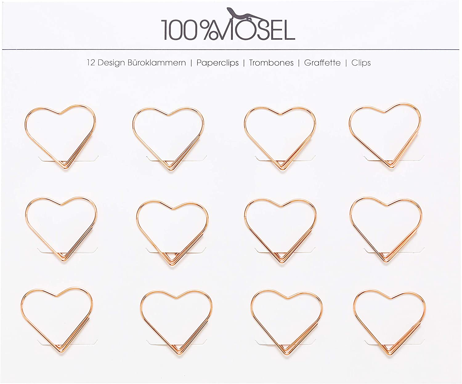 heart 3 x 2.7 cm paper clips rose gold metal letter clips motif paper clips as decoration bookmark or souvenir Paper clips pack of 12