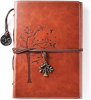 Lined Refillable Vintage Writing Journal for Women, Retro Tree of Life Faux Leather Cover Notebook/Travel Diary,Wide Ruled Paper,Daily Use Gift for Bloggers/Teachers/Back to College Students
