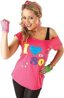 Rubies Official - Disfraz para Adulto, Camiseta con Texto en inglés I Love The 80's, Talla M