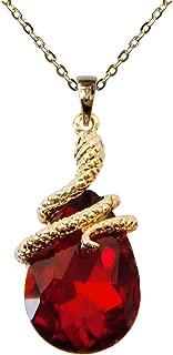 Navachi 18k Gold Plated Water Drop Crystal Red Zircon Snake Az6032p Snake Pendant Necklace 16