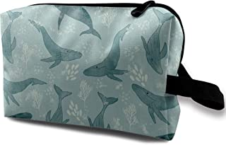 Majestic Humpback Whales Travel Makeup Cute Cosmetic Case Organizer Portable Storage Bag for Women