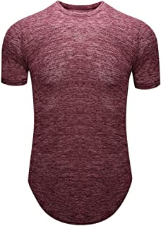 17 Mens T-Shirts Polyester Solid O-Neck Short Sleeve Tee Slim Fit Breathable Fitness Sweatshirts EAZsyn8