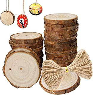 Natural Unfinished Wood Slices with Holes Bulk and Circles with Tree Bark, 30 pcs 2.4-2.8 inch Wood Template for Crafts Great for Arts and Crafts Christmas Ornaments DIY Kids Crafts