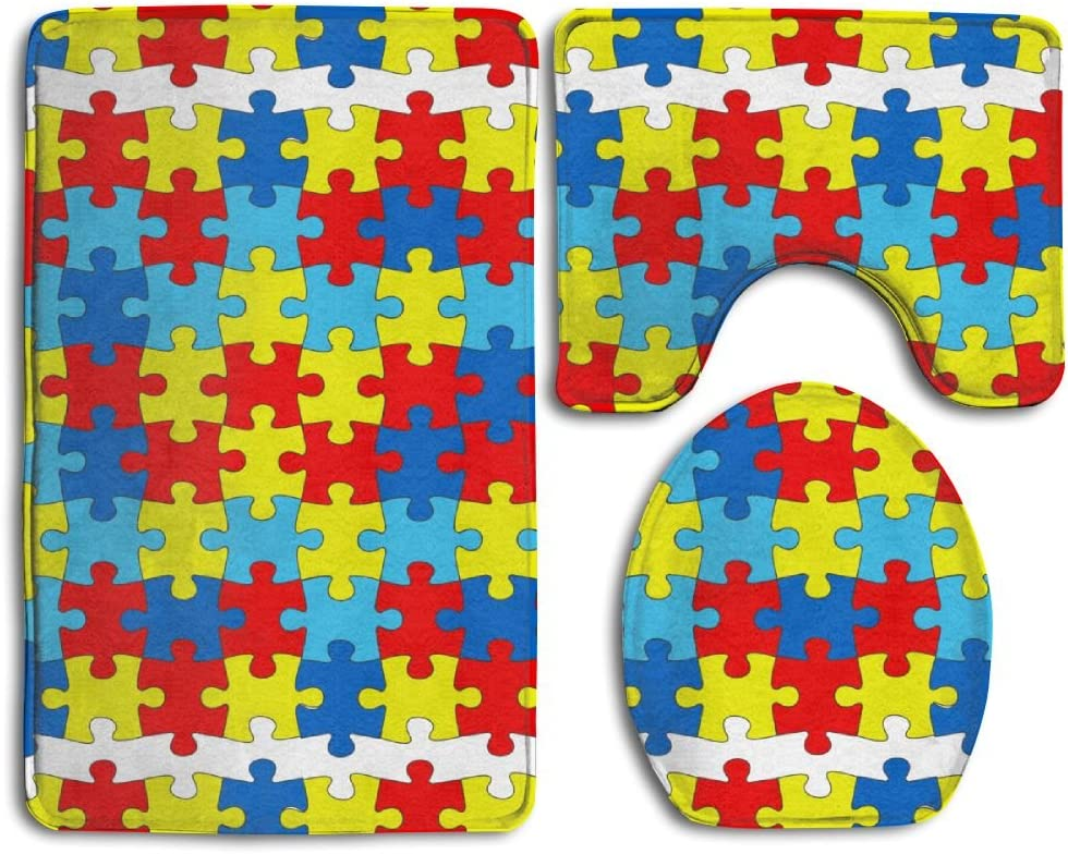 Ttrsudddsyy Autism Autistic Special Campaign Disorder Home Set Of Bath Soft Rug 3 All items free shipping