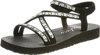 Skechers Women's Multi-Strap Sandal Flat, Black, 11