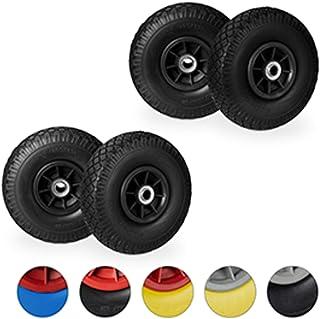 4 x steekwagenwiel, anti lek rubberband, 3.00-4 inch, 20 mm as, tot 80 kg, reservewiel 260 x 85 mm, zwart