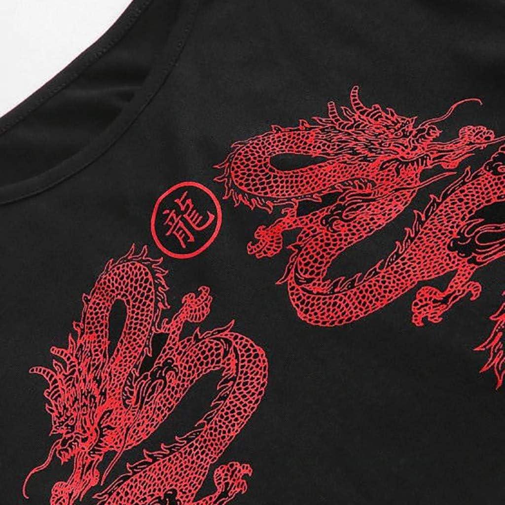 zzzz Damen Dragon Graphic Printed Crop Tops Casual Kurzarm Cami