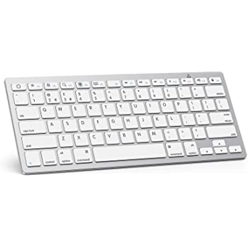 OMOTON Ultra-Slim Bluetooth Keyboard Compatible with iPad 10.2(8th/ 7th Generation)/ 9.7, iPad Air 4th Generation, iPad Pro 11/12.9, iPad Mini, and More Bluetooth Enabled Devices, White