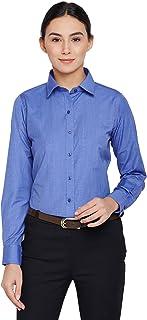 Lamode Ladies Solid Royal Blue Formal Shirt 409