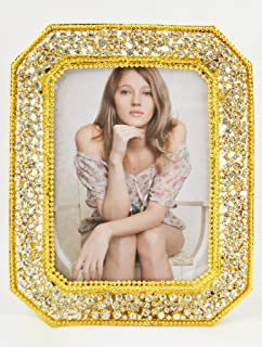 Ciel Collectables Veronica Picture Frame with Hand Set Clear Swarovski Crystal, Gold Plating, Brown Color Stylish Silk Back Have Two Way Easel, Holds 5 x 7 Inch Pictures