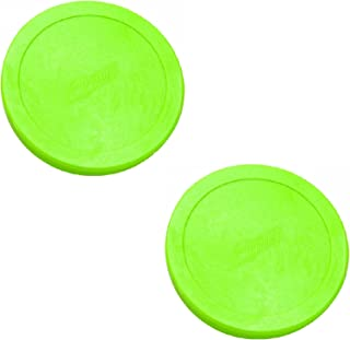 "2 Dynamo Brand 3.25"" Large Fluorescent-Green OEM Hockey Air Pucks."