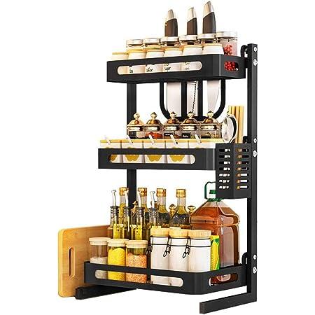 YARNOW Organizador de Encimera de Estante de Especias de Cocina Estante de Especias de Metal Soporte de Estante de Frasco de Botella de Especias Negro
