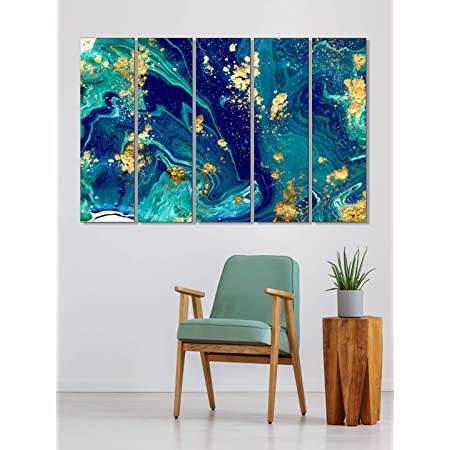 999Store living room decorative items modern wooden wall decor set Abstract blue and golden wall art panels hanging painting Set of 5 frames (130 X 76 Cm)