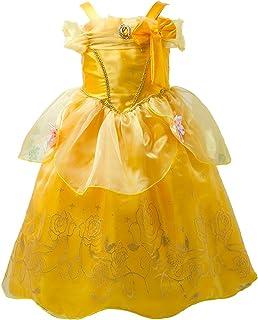 プリンセスなりきり 子供 ドレス キッズ 子ども お姫様 ワンピース  お姫様ドレス 女の子 なりきり キッズドレス シンデレラ/ラプンツェル/ベル/オーロラ姫 (140サイズ, イエロー風)