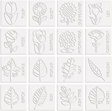 Fun Express - Mini Flowers & Leaves Rubbing Plate Set - Stationery - Office Supplies - Classroom Supplies - 16 Pieces