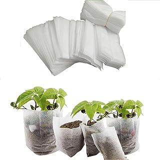 "SUMTORY 300pcs Biodegradable Pots for Seedlings Seed Starter Peat Pots Fabrics Garden Nursery Bags 6.26×6.26"""
